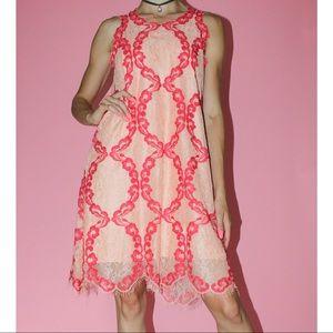M.S.S.P. Max Studio Peach/Red Lace Trapeze Dress S